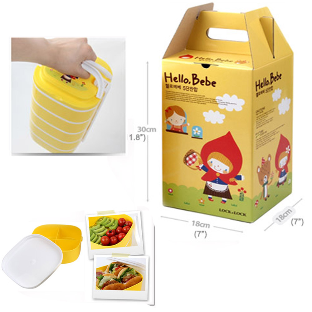 lock lock hello bebe baby lunch box five food container. Black Bedroom Furniture Sets. Home Design Ideas