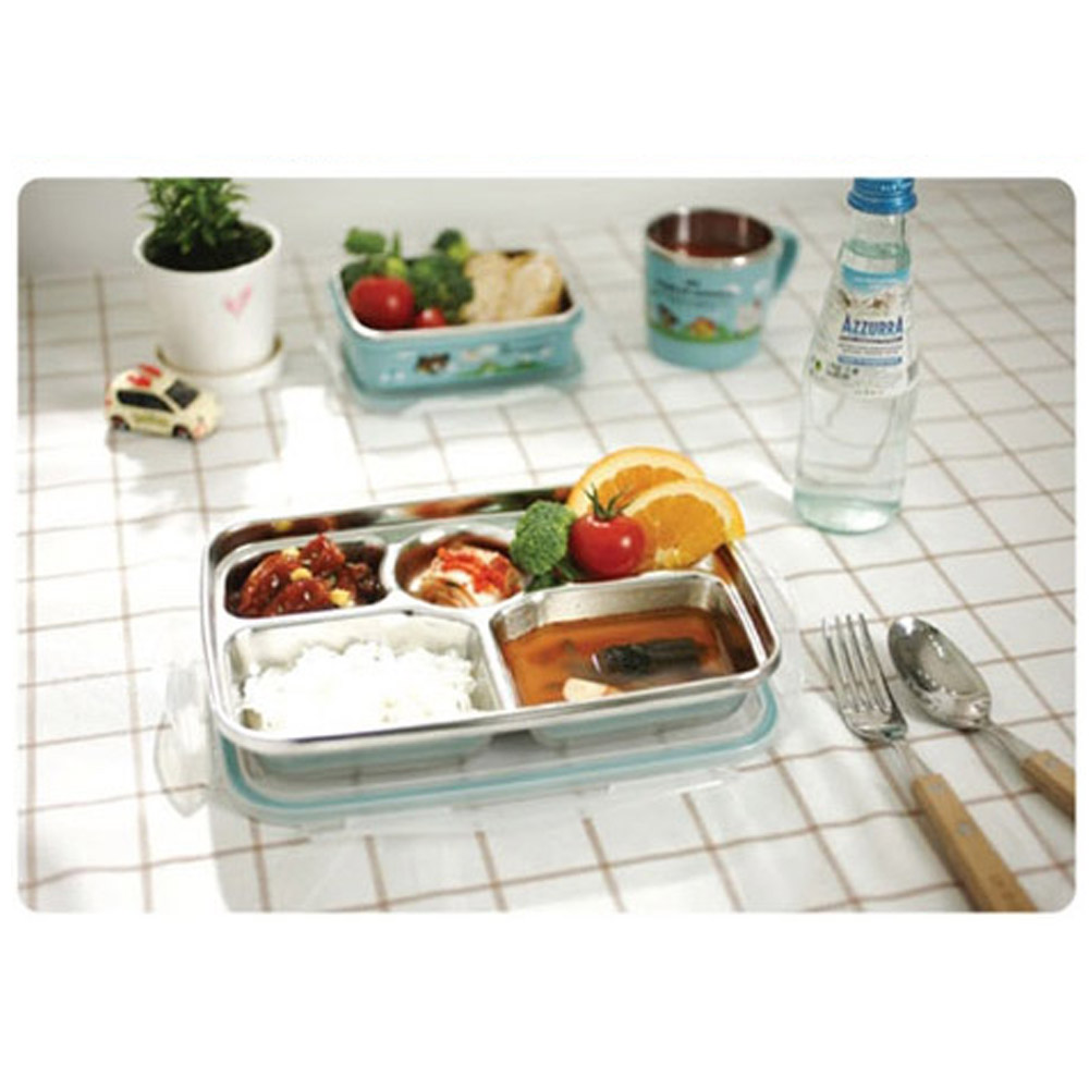 Stainless Steel Food Snack Tray Airtight Lid Hygienic