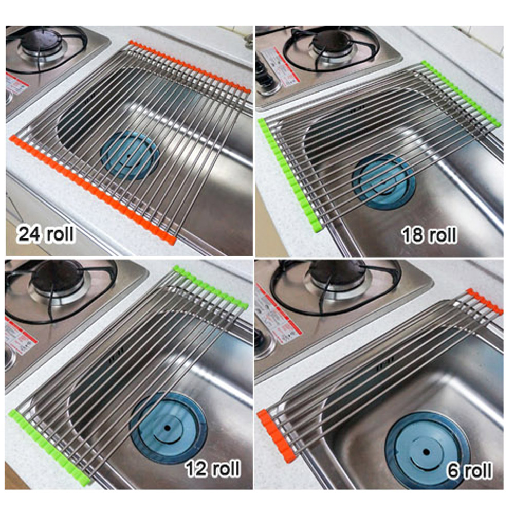 Kitchen Stainless Steel Shelf Sink Roll Dish Drying Rack