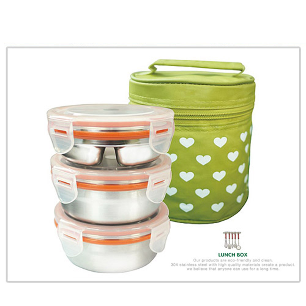 Container Store Lunch Box: Stainless Steel 3 Container Circle Bento Lunch Box