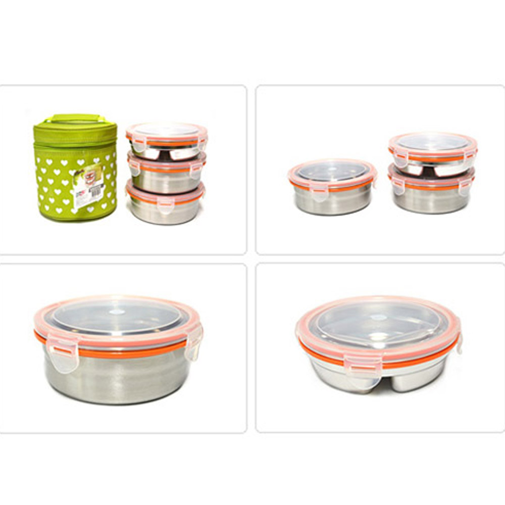Stainless Steel 3 Food Container Circle S Bento Lunch Box