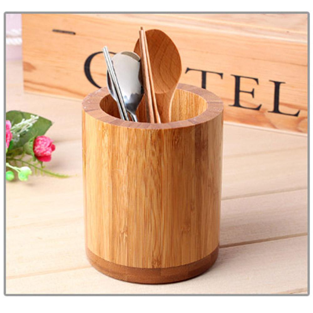 Details about Kitchen Bamboo Round Spoon Chopsticks Fork Holder Cutlery  Storage Organizer