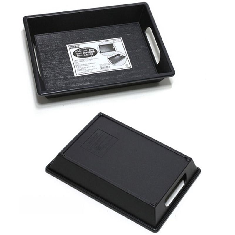 black plastic simple design serving tray with handles food breakfast easy handle 8809084740527. Black Bedroom Furniture Sets. Home Design Ideas