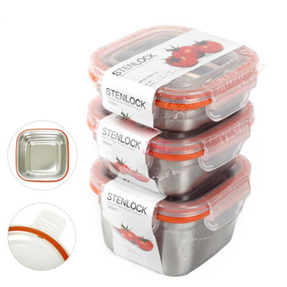 Details About Kitchen Food Storage Container Stainless Steel Square Keep Side Dish Set 3p